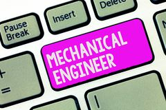 Writing note showing Mechanical Engineer. Business photo showcasing Applied Engineering Discipline for Mechanical System.  royalty free stock images
