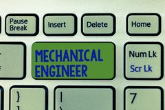 Writing note showing Mechanical Engineer. Business photo showcasing Applied Engineering Discipline for Mechanical System.  stock photography