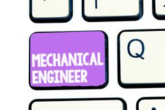 Writing note showing Mechanical Engineer. Business photo showcasing Applied Engineering Discipline for Mechanical System.  royalty free stock photos