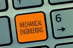 Writing note showing Mechanical Engineering. Business photo showcasing deals with Design Manufacture Use of Machines.  royalty free stock images