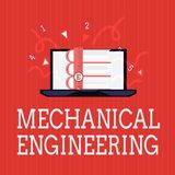 Writing note showing Mechanical Engineering. Business photo showcasing deals with Design Manufacture Use of Machines.  royalty free illustration