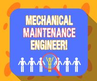 Writing note showing Mechanical Maintenance Engineer. Business photo showcasing Responsible for machines efficiency Magnifying. Glass Over Chosen Man Hu vector illustration