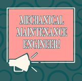 Writing note showing Mechanical Maintenance Engineer. Business photo showcasing Responsible for machines efficiency. Megaphone Sound icon Outlines Square vector illustration