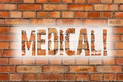 Writing note showing Medical. Business photo showcasing Related to science of Medicine Treatment for illness or injuries Brick. Wall art like Graffiti royalty free stock photos