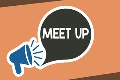 Writing note showing Meet Up. Business photo showcasing Informal meeting gathering Teamwork Discussion group. Collaboration vector illustration