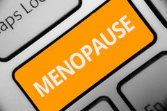 Writing note showing Menopause. Business photo showcasing Period of permanent cessation or end of menstruation cycle Keyboard oran. Ge key Intention computer royalty free stock photography