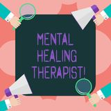 Writing note showing Mental Healing Therapist. Business photo showcasing Counseling or treating clients with mental disorder Hu. Analysis Hands Holding vector illustration