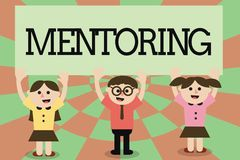 Writing note showing Mentoring. Business photo showcasing To give advice or support to a younger less experienced. Demonstrating royalty free illustration