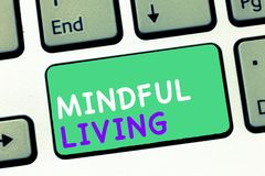 Writing note showing Mindful Living. Business photo showcasing Fully aware and engaged on something Conscious and Sensible.  stock image