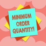 Writing note showing Minimum Order Quantity. Business photo showcasing lowest quantity of a product a supplier can sell. Multiple Layer of Sheets Color Paper royalty free illustration
