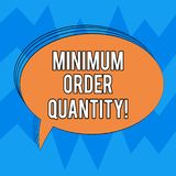 Writing note showing Minimum Order Quantity. Business photo showcasing lowest quantity of a product a supplier can sell. Oval Outlined Solid Color Speech Bubble stock illustration