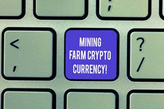 Writing note showing Mining Farm Crypto Currency. Business photo showcasing Block chain trading digital money business. Keyboard Intention to create computer royalty free stock photos