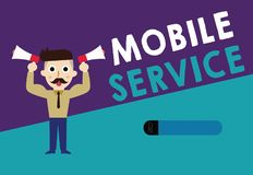 Writing note showing Mobile Service. Business photo showcasing Radio communication utility between mobile and land stations vector illustration