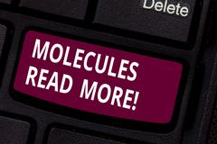 Writing note showing Molecules Read More. Business photo showcasing smallest amount of chemical Atom particle mite royalty free stock photography