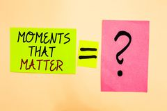 Writing note showing Moments That Matter. Business photo showcasing Meaningful positive happy memorable important times Written on. Green sticky note on yellow royalty free stock image
