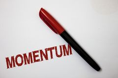 Writing note showing Momentum. Business photo showcasing Quantity motion in moving body Product of mass and velocity Softliner poi. Nter ink handwriting note pen royalty free stock image