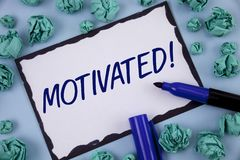 Writing note showing  Motivated Motivational Call. Business photo showcasing Willing to do something Inspired Confident written on. Writing note showing Royalty Free Stock Images