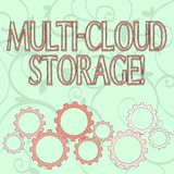Writing note showing Multi Cloud Storage. Business photo showcasing use of multiple cloud computing and storage services. Writing note showing Multi Cloud vector illustration