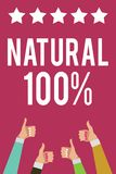 Writing note showing Natural 100. Business photo showcasing Minimally processed and does not contain artificial flavors Men women. Hands thumbs up approval Vector Illustration