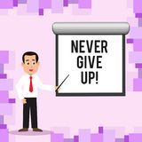 Writing note showing Never Give Up. Business photo showcasing Be persistent motivate yourself succeed never look back. Writing note showing Never Give Up stock illustration