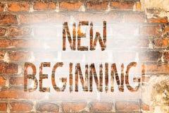 Writing note showing New Beginning. Business photo showcasing Fresh Start Changing Form Growth Life New Way to Work Brick Wall art. Like Graffiti motivational stock photos