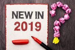 Writing note showing New In 2019. Business photo showcasing Fresh Era Latest Year Period Season Annual Coming Modern written on C. Writing note showing New In stock images