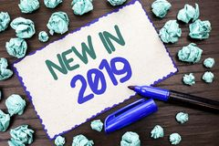 Writing note showing New In 2019. Business photo showcasing Fresh Era Latest Year Period Season Annual Coming Modern written on C. Writing note showing New In royalty free stock image