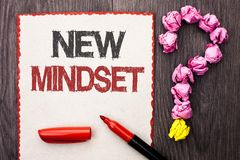 Writing note showing  New Mindset. Business photo showcasing Attitude Latest Concept Vision Behaviour Plan Thinking written on Car. Writing note showing  New Royalty Free Stock Image