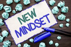Writing note showing  New Mindset. Business photo showcasing Attitude Latest Concept Vision Behaviour Plan Thinking written on Car. Writing note showing  New Stock Images