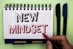 Writing note showing  New Mindset. Business photo showcasing Attitude Latest Concept Vision Behaviour Plan Thinking written by Man. Holding Marker Nootbook Book Royalty Free Stock Images