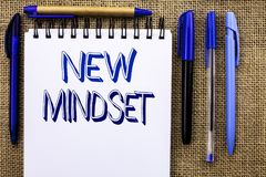 Writing note showing  New Mindset. Business photo showcasing Attitude Latest Concept Vision Behaviour Plan Thinking written on Not. Writing note showing  New Stock Images