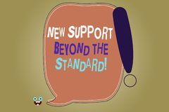 Writing note showing New Support Beyond The Standard. Business photo showcasing Excellent assistance useful service. Blank Color Speech Bubble Outlined with royalty free illustration
