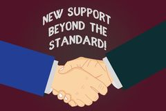 Writing note showing New Support Beyond The Standard. Business photo showcasing Excellent assistance useful service Hu. Analysis Shaking Hands on Agreement Sign vector illustration