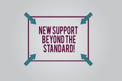 Writing note showing New Support Beyond The Standard. Business photo showcasing Excellent assistance useful service. Square Outline with Corner Arrows Pointing vector illustration