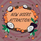 Writing note showing New Users Attraction. Business photo showcasing Something that makes showing want for a particular. Thing Floral Wreath made of Tiny Seeds royalty free illustration