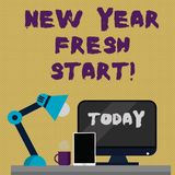 Writing note showing New Year Fresh Start. Business photo showcasing Time to follow resolutions reach out dream job. Writing note showing New Year Fresh Start stock illustration