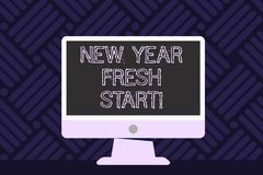 Writing note showing New Year Fresh Start. Business photo showcasing Time to follow resolutions reach out dream job. Writing note showing New Year Fresh Start royalty free illustration