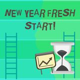 Writing note showing New Year Fresh Start. Business photo showcasing Time to follow resolutions reach out dream job. Writing note showing New Year Fresh Start vector illustration