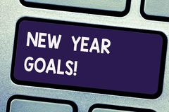 Writing note showing New Year Goals. Business photo showcasing Resolutions for 365 days coming soon Motivation to change. Keyboard key Intention to create royalty free stock photo