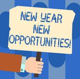 Writing note showing New Year New Opportunities. Business photo showcasing Fresh start Motivation inspiration 365 days. Hu analysis Hand Holding Colored Placard vector illustration