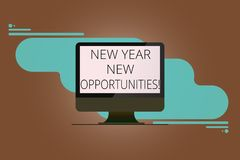 Writing note showing New Year New Opportunities. Business photo showcasing Fresh start Motivation inspiration 365 days. Mounted Computer Monitor Blank Reflected vector illustration