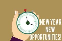 Writing note showing New Year New Opportunities. Business photo showcasing Fresh start Motivation inspiration 365 days. Hu analysis Hand Holding Stop Watch stock illustration