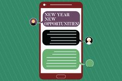 Writing note showing New Year New Opportunities. Business photo showcasing Fresh start Motivation inspiration 365 days. Mobile Messenger Screen with Chat Heads stock illustration