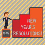 Writing note showing New Year S Resolutions. Business photo showcasing Goals Objectives Targets Decisions for next 365. Days vector illustration