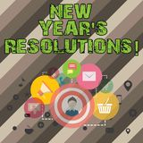 Writing note showing New Year S Resolutions. Business photo showcasing Goals Objectives Targets Decisions for next 365. Days royalty free illustration