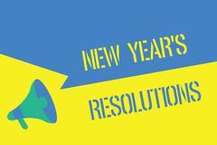 Writing note showing New Year s is Resolutions. Business photo showcasing Wishlist List of things to accomplish or. Improve vector illustration