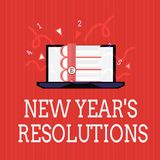 Writing note showing New Year s is Resolutions. Business photo showcasing Wishlist List of things to accomplish or. Improve royalty free illustration