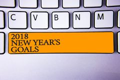 Writing note showing 2018 New Years Goals. Business photo showcasing resolution List of things you want to achieve Keyboard key I. Ntention create computer vector illustration