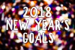 Writing note showing 2018 New Years Goals. Business photo showcasing resolution List of things you want to achieve Messages light. Background lovely thoughts stock illustration