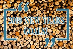 Writing note showing 2019 New Years Goals. Business photo showcasing resolution List of things you want to achieve. Writing note showing 2019 New Years Goals royalty free stock photos